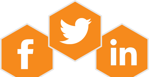 Orange Facebook, Twitter and LinkedIn icons.